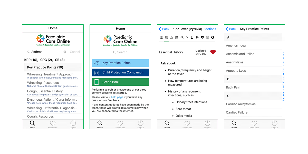 RCPCH Case study app preview