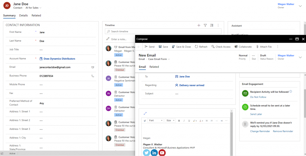 Email Engagement : Dynamics 365